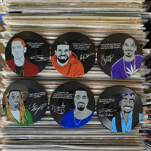 תחתיות מעוצבות בצורת תקליטים HIP HOP