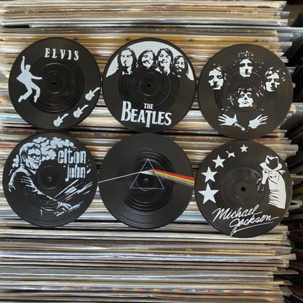 סט תחתיות בצורת תקליט דגם Classic