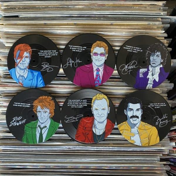 תחתיות לכוסות בצורת תקליט MAJESTIC